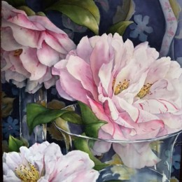 Camellias Through Glass 2013 105x75