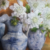 Dahlias in Blue and White 2012 75x105
