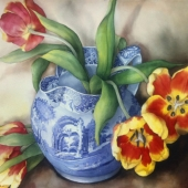 pam sackville Tulips in a Spode Jug 2012
